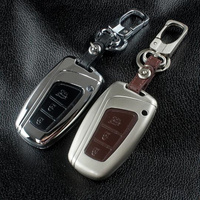 SeiYio Zinc Alloy Leather Car Key Case Cover Shell For Hyundai Santa Fe DM 2013 2014