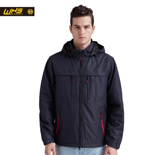 WHS 2017тонкий синтепон для Мужчины Многоцветный спорт теплая Куртка открытый отдых Ветрозащитный и Водонепроницаемый пальто Мужской синий и красный и серый Одежда
