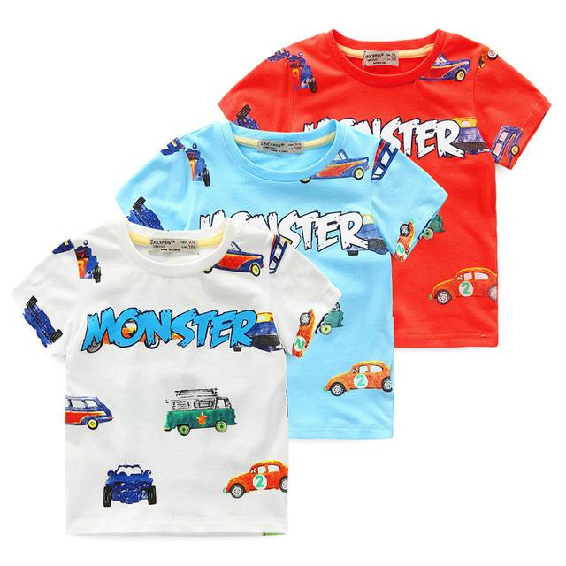 3-nove anos 2016 verão nova dos desenhos animados infantis camisetas meninos crianças T - projetos da camisa roupas para adolescentes para meninos roupas de bebê meninas t-shirt da