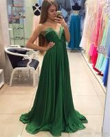 Evening Gown 2016 Robes De Soiree Courte Emerald Green Chiffon Evening Dresses Long Prom Dresses