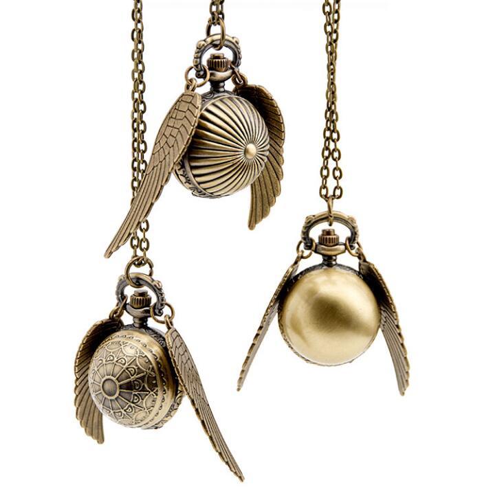 Golden Snitch Bronze Antiques Big Wings Quartz Pendant Necklace Pocket Watches Gift