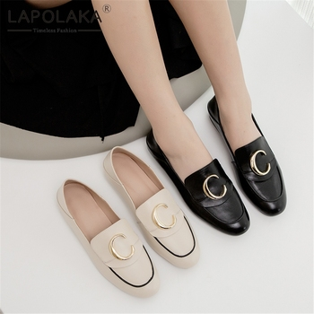 Lapolaka New Arrivals Genuine Cow Leather Slip On Summer Pumps Woman Shoes Chunky Heels Hot Shoes Woman Pumps Footwear