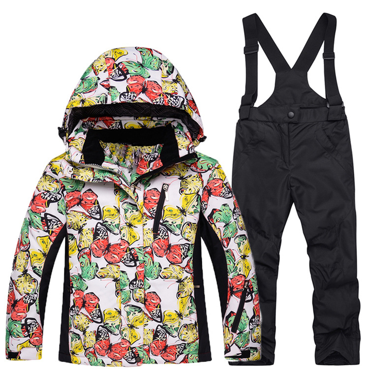 2017 Children girl boy sports outdoor ski Snow suits for 6 10 15y big girl jumpsuit windproof track suit jacket overalls clothes