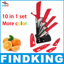 Christmas Gifts brand high quality 10 piece in set Zirconia kitchen Ceramic Knife Sets 3″ 4″ 5″ 6″ inch + Peeler+Scabbard+Holder