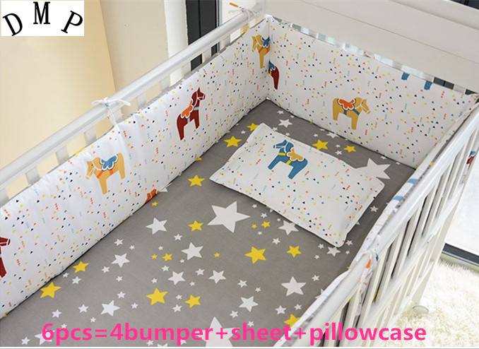 Promotion! 6PCS 100% cotton baby bedding sets ,crib bedding sets for crib (bumpers+sheet+pillow cover) promotion 6pcs bear baby crib bedding set crib sets 100