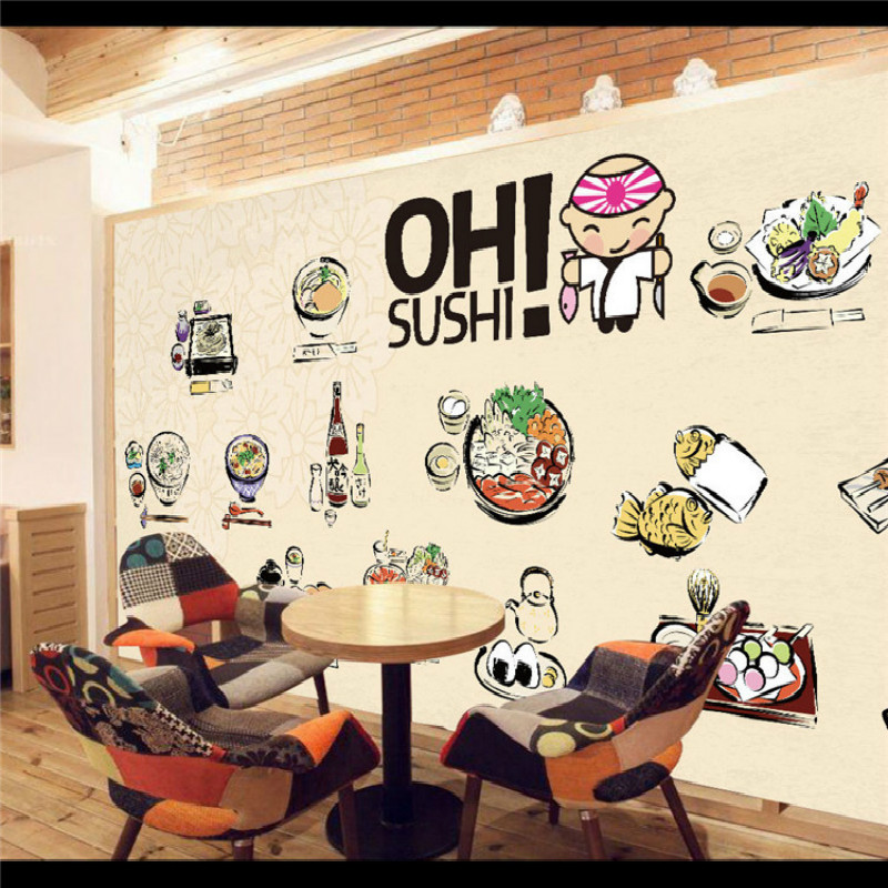 Japanese custom 3d wallpaper for walls restaurant sushi for Mural restaurant
