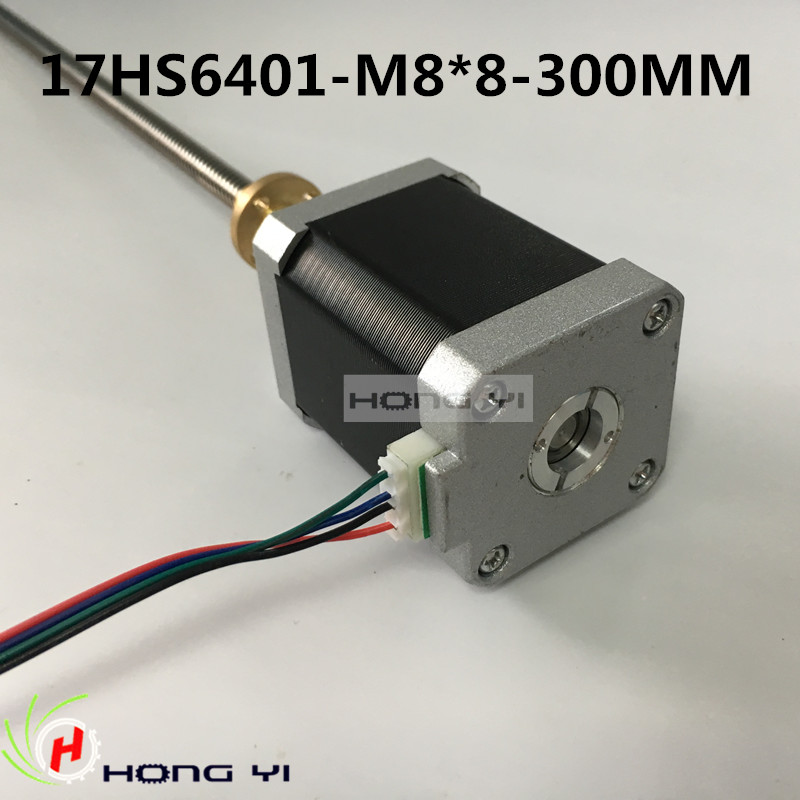 nema17 stepper motor 2-phase hybrid(1.7A, 0.73NM, 60mm, 4-wire) 17HS6401-M8*8-300MM with Copper nut lead 8mm for 3D printer 76zy01 mig motor wire feed motor wire feeder motor dc24 1 8 18m min 1pk