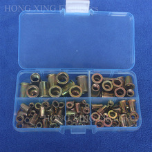 100Pcs/set M3 M4 M5 M6 M8 Zinc Plated Knurled Nuts Rivnut Flat Head Threaded Rivet Insert Nutsert Cap Rivet Nut Assortment