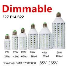 Затемнения светодиодный светильник 5730 лампы 7 Вт, 12 Вт, 15 Вт, 25 Вт, 30 Вт, 40 Вт, светодиодный потолочный светильник ing E27 E26 B22 E14 B15 110 В 220 лампада LED светодиодный светильник, тип «Кукуруза»