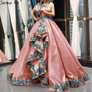 Image 3 - High end Red Bean One Shoulder Sexy Wedding Dresses 2020 Real Photo Sequin Handmade Flowers Bride Gown 66738 Custom Made