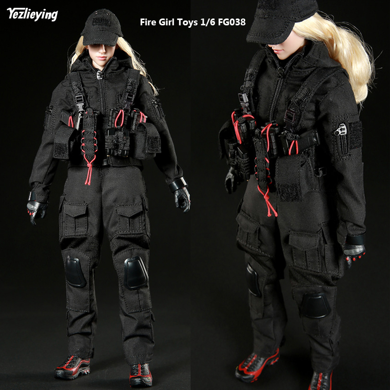 1 6 Scale Clothing Accessories Fire Girl Toys FG038 Dark Night Female Shooter Gunslinger Gunman Black