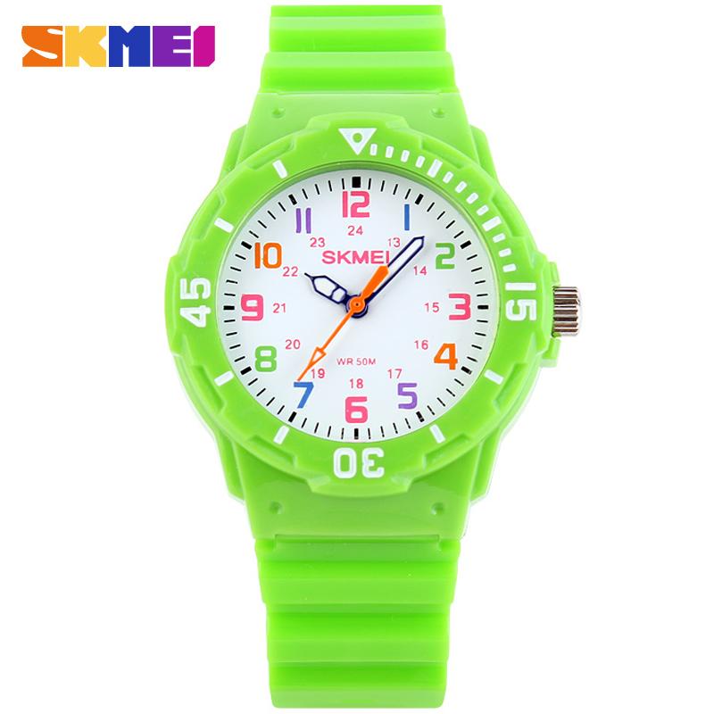 Prix pour SKMEI mode casual enfants montres à quartz PU bracelet de luxe marque enfants montres orange cas 50 M résistant à l'eau reloj mujer
