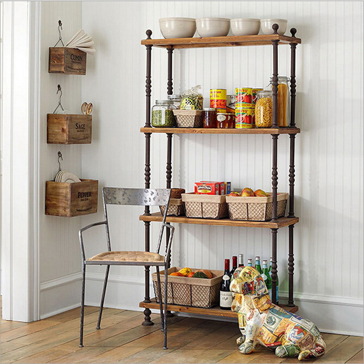 American Antique Wrought Iron Wood Shelf Bookcase Shelf Storage Rack Kitchen  Furniture 20151china