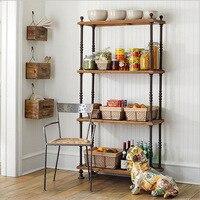 Americano antiguo de hierro forjado estante de madera Muebles de Cocina de Almacenamiento En Rack estante estantería 20151