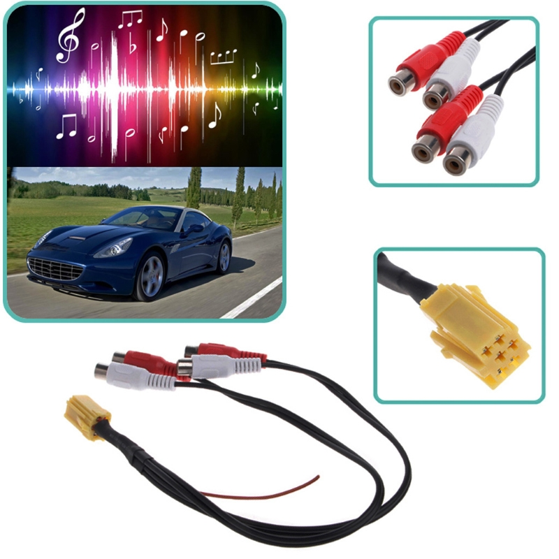 Mini ISO adaptador Aux 4 Chinch Kabel 4 RCA para VW asiento Skoda Blaupunkt VDO para Audi