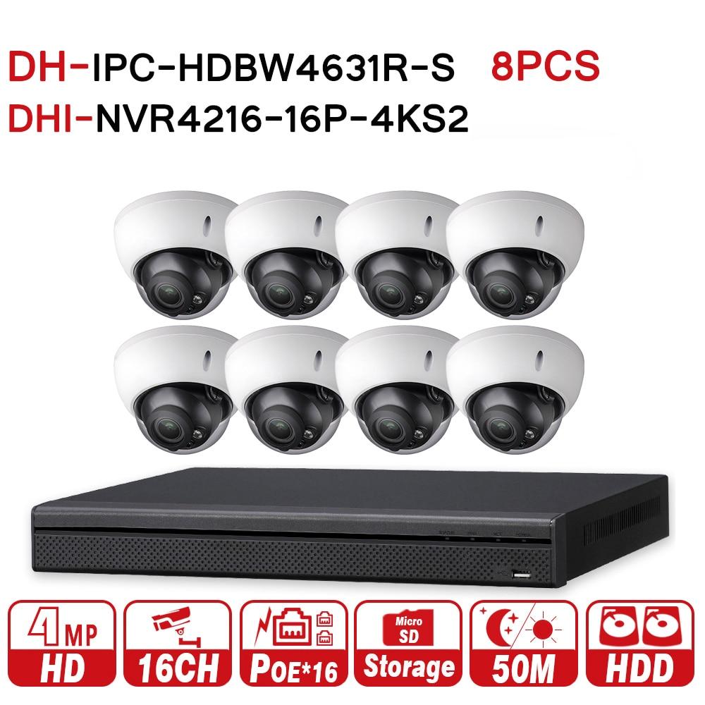 DH 6MP 16 8 Security CCTV System 8PCS 6MP IR IP Camera IPC HDBW4631R S 16POE