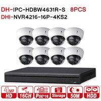 DH 6MP 16+8 Security CCTV System 8PCS 6MP IR IP Camera IPC HDBW4631R S & 16POE 4K NVR NVR4216 16P 4KS2 Surveillance CCTV Kits