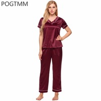 Women Summer Satin Silk Pajama Set Long Pants And Short Sleeve Top Pyjama Suit Female Sexy