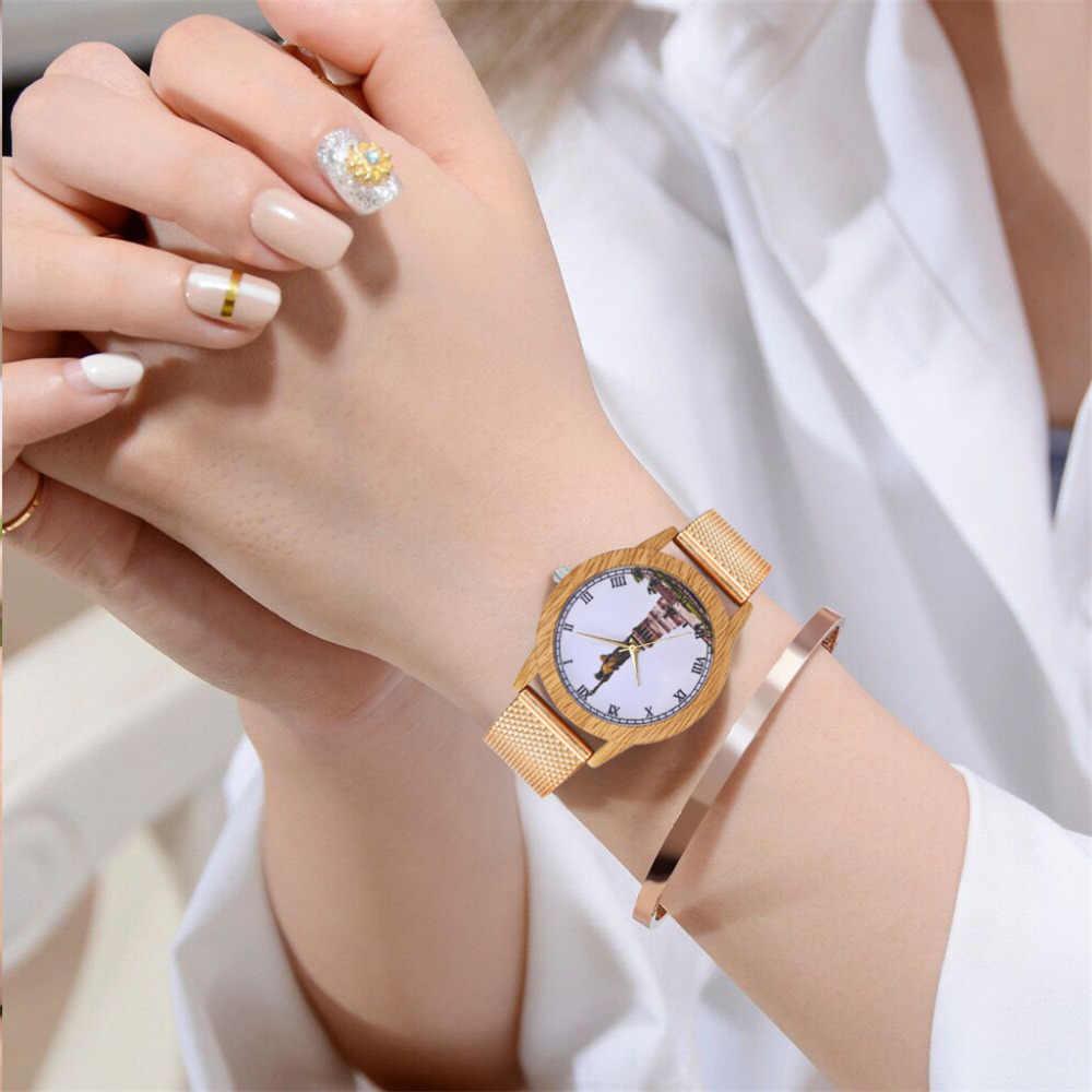 Relojes de pulsera de diamantes de imitación de flores de oro rosa de moda para mujer reloj de cuarzo informal de lujo para mujer