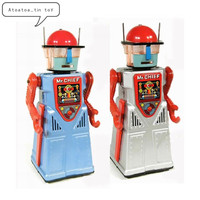 Vintage Mr. Chief Robot Collection Tin toys Classic Clockwork Wind Up Electric robot Tin Toys For Adult Kids Collectible Gift