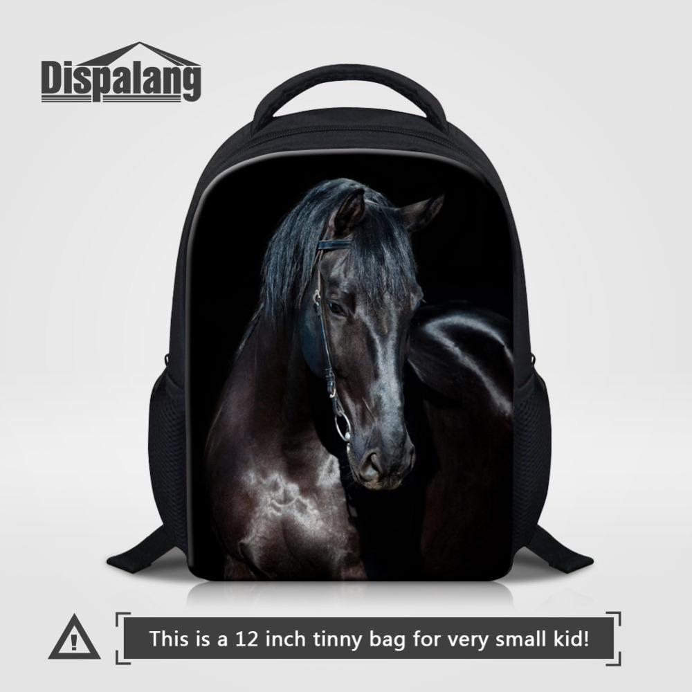 Dispalang 12 inch Kids Animal Backpack For Kindergarten School Bag Horse Head 3d Printing Bagpack Small Baby Book Bag mochila