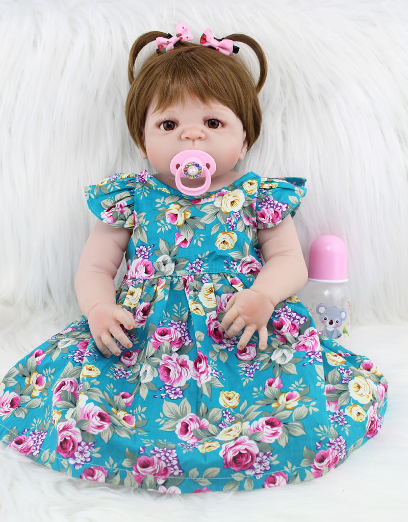 55cm Full Body Silicone Reborn Girl Baby Doll Toys Realistic 22inch Newborn Princess Toddler Babies Doll