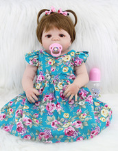 55cm Full Body Silicone Reborn Girl Baby Doll Toys Realistic 22inch Newborn Princess Toddler Babies Doll Birthday Gift Present