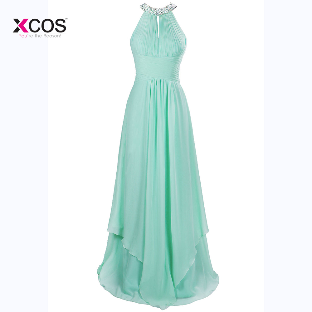 Long Cheap Mint Green Halter Bridesmaid Dresses Floor Length Chiffon Crystal A Line Prom Wedding Guest