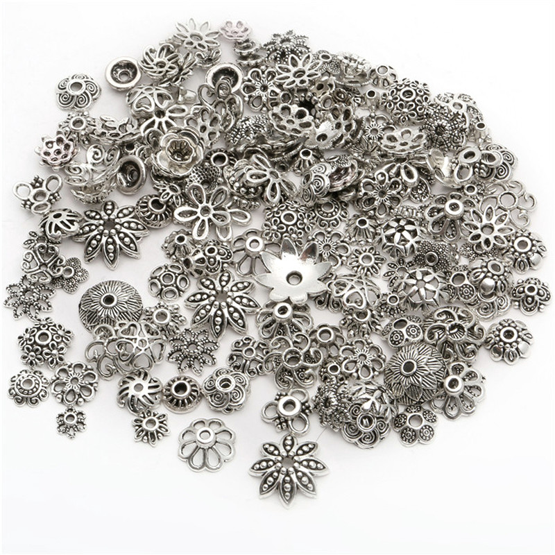 150pcs/lot 4-15mm Silver Mixed Bead Caps With Different Patterns End Bead Cap Accessories For Jewelry Making Bracelet DIY