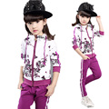 Spring Autumn baby girls christmas outfits Sport suit clothing set children flower hoodies pants kids fbrand clothes sets