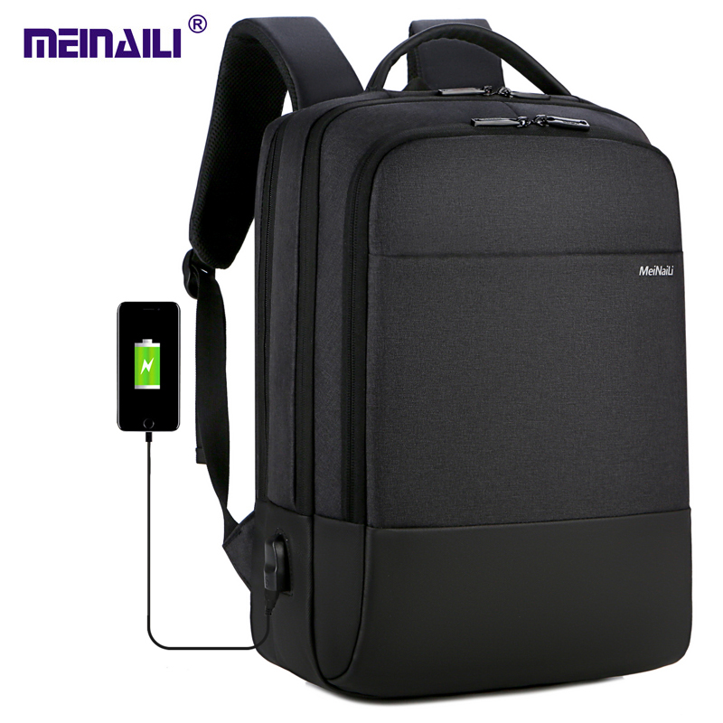 2019 Mens Business Laptop Backpack USB Charging Male 14 15 Inch Computer Bags Waterproof Bookbags For Men Travel Mochila