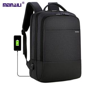 Image 1 - 2019 メンズビジネスノートパソコンのバックパック USB 充電男性 14 15 インチコンピュータバッグ防水 Bookbags トラベル Mochila