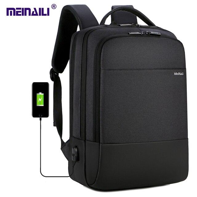2019 メンズビジネスノートパソコンのバックパック USB 充電男性 14 15 インチコンピュータバッグ防水 Bookbags トラベル Mochila