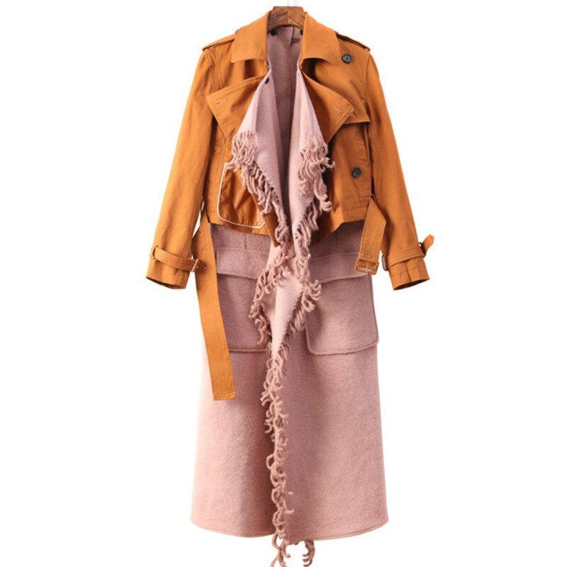 2018 QLZW New Autumn Winter Fashion Jacket Open Stitch Sleeveless Vest Patchwork Turn-down Collar Tassel Woolen Long Coat WA9310