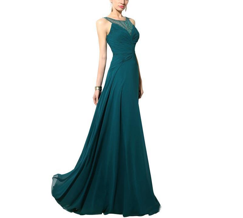 2019 nouveau Turquoise formel en mousseline de soie avec des perles formel femmes robe de soirée-parole longueur Abiti Da Cerimonia Da Sera