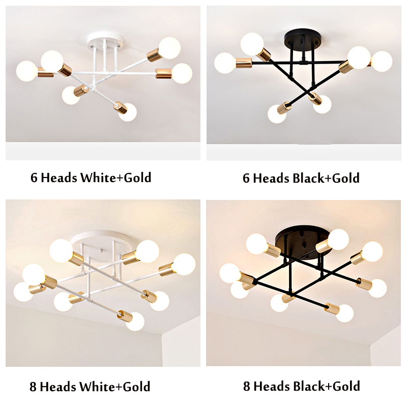 6 8 Head LED Industrial Iron Ceiling Lamp Black Golden European Minimalist Living Room Lighting 220V 6/8 Head LED Industrial Iron Ceiling Lamp Black/Golden European Minimalist  Living Room Lighting 220V E27 Anti-Rust & Durable