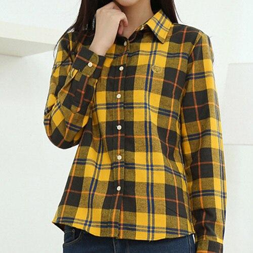 Calidad clásico mujeres camisa a cuadros de manga larga da