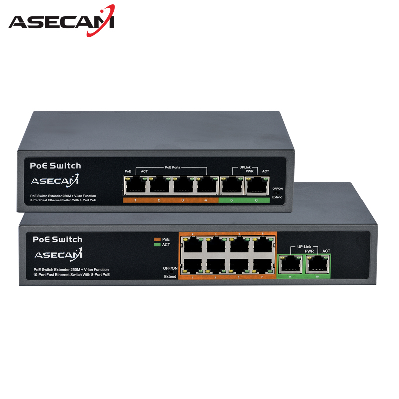 High quality 48V PoE Switch Professional for IP Camera 2+4 Port 8 Port 10/100Mbps PoE injector Power over Ethernet IEEE802.3af cctv 4 port 10 100m poe net switch hub power over ethernet poe