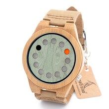 BOBO de AVES A03 Madera De Bambú de Los Hombres Reloj de pulsera de 12 Agujeros de Diseño de Los Hombres de Primeras Marcas Relojes de Pulsera De Madera De Bambú