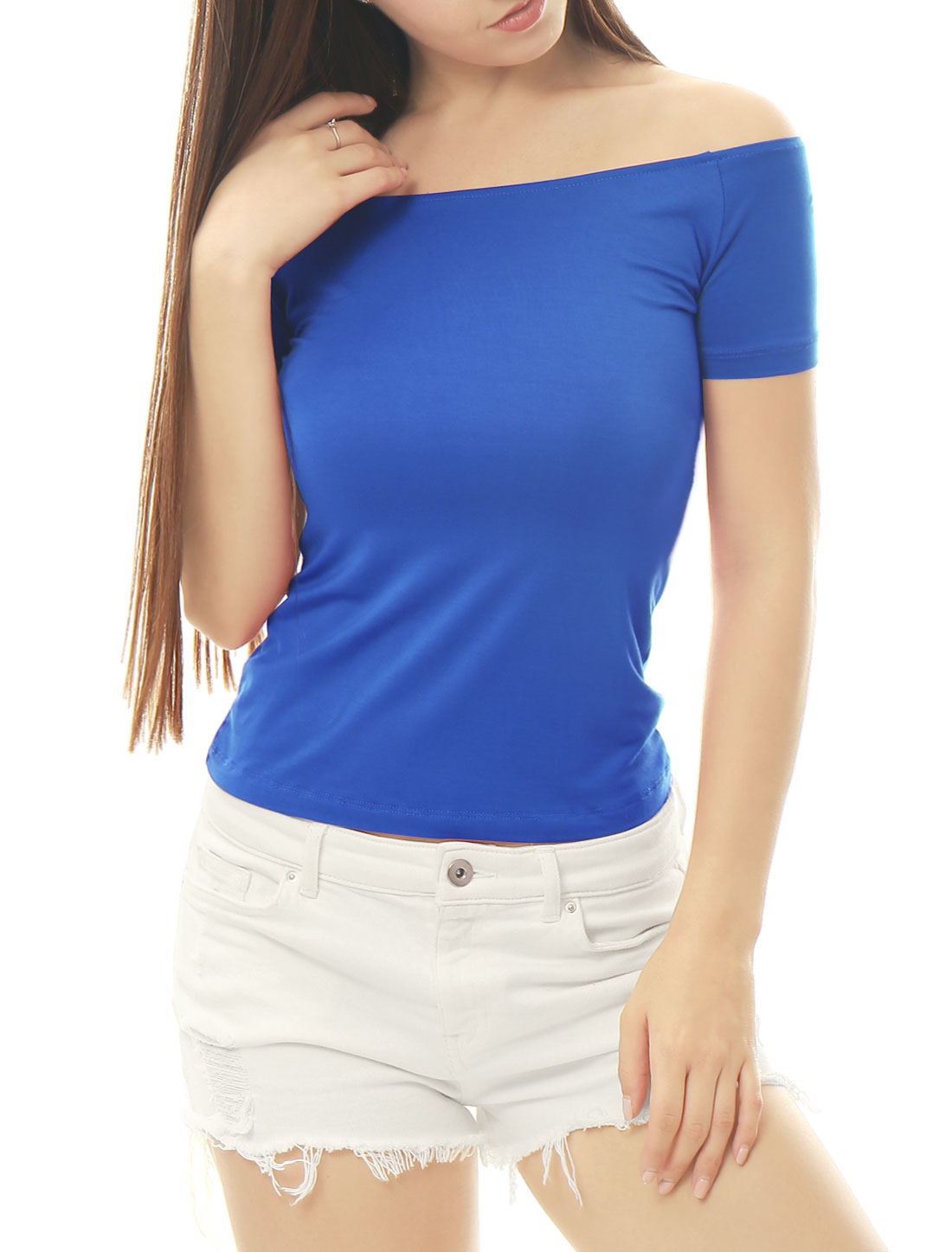9f582cbb1a390 Allegra K Women Short Sleeves Slim Fit Off The Shoulder Top-in T-Shirts from  Women s Clothing on Aliexpress.com