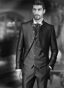 Latest Design Six Buttons Black Groom Tuxedos Stand Collar Groomsmen Mens Wedding Prom Suits (Jacket+Pants+Vest+Tie) NO:200
