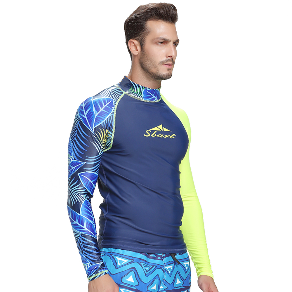 Image 5 - SBART men's rash guard shirt Mens Long Sleeved T Shirt Swimwear Wakeboard Floatsuit Tops UV Swimming RashGuard-in Rash Guard from Sports & Entertainment