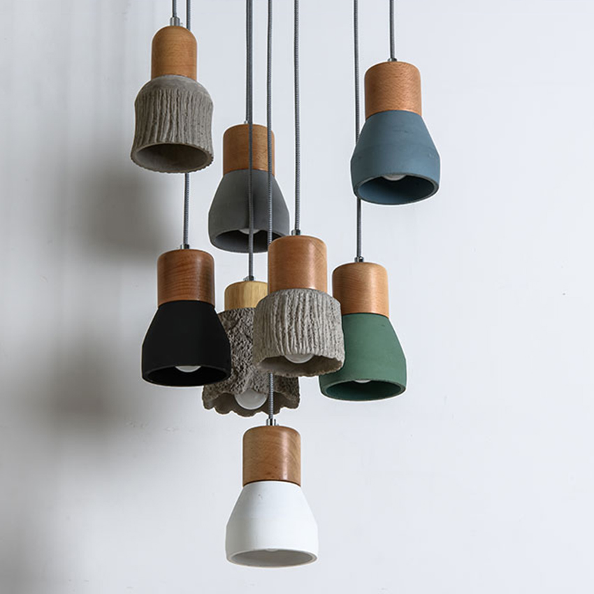 Modrn Pendant Lights Cement Wood E27 Socket Retro Cement Pendant Lamp Dining Room Indoor Hanging Lamp Decoration Droplight Avize