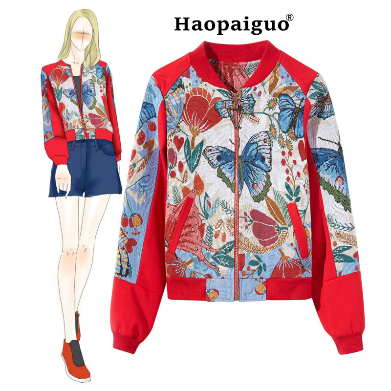 Plus Size Women Print   Jackets   2018 Winter Causal Windbreaker Women   Basic     Jackets   Coats Sweater Zipper   Jackets   Butterfly Famale