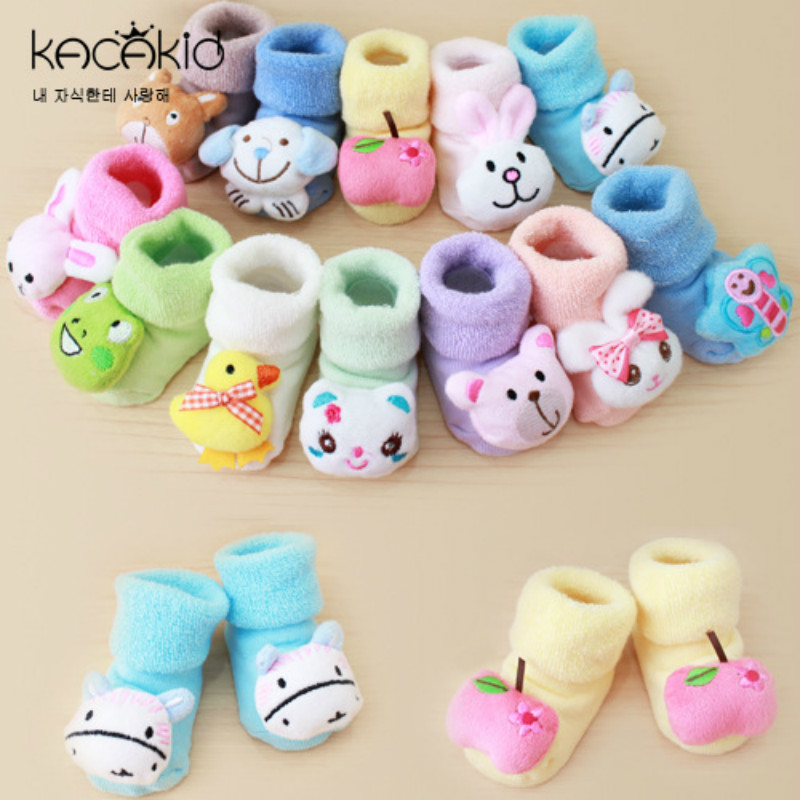 3D Baby Autumn Winter Kids Socks Newborn Cartoon Plush Socks Infants Combed Cotton Flooring Socks Uinsex For 0-10 Month Baby
