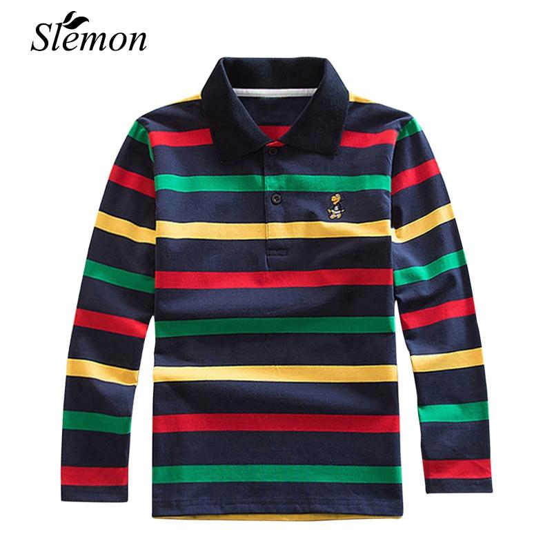 Children's Boys Polo Shirts 2018 Spring Autumn Long Sleeve Striped Kids Cotton Lapel Polo Shirt Children 2-15 Years Boy Clothing striped color block polo shirt