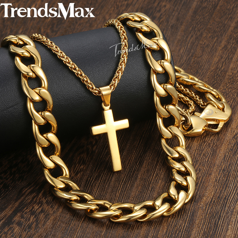 New Men's Hip Hop Necklace Gold Stainless Steel Cuban Wheat Link Chain Cross Pendant Necklace for Men Jewelry 13mm 24inch DN08 new men s hip hop necklace gold stainless steel curb cuban link chain cross pendant necklace for men jewelry 11mm 24inch dn05
