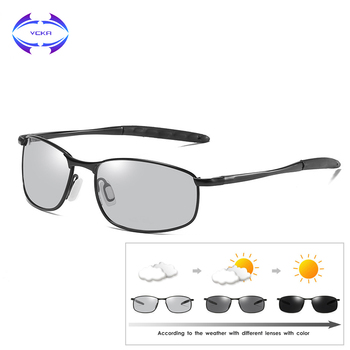 5cfe68d9d0 VCKA decoloración gafas de sol polarizadas para hombres, diseñador de marca,  rectángulo gafas de hombre conducción gafas de sol UV400 gafas