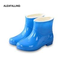 Aleafalling Fashion Short Ankle Rain Boots Waterproof Flat Shoes Woman Rain Woma