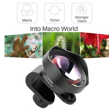 Pholes 75MM 10X Marco Camera Lens for Phone Clip-on HD 4K Mobile Lenses for iPhone Xs Max 8 Plus Huawei P20 Pro Samsung S8 S9